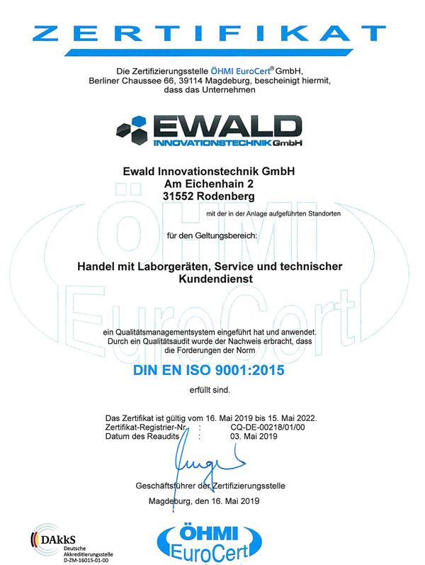 ISO-9001-Zertifikat